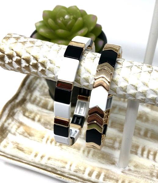 Black White Gold Bracelet Gemelli