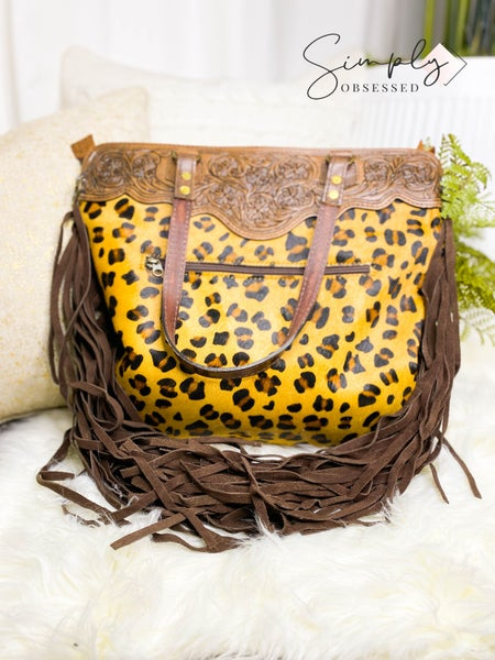 Cheetah print hand crafted leather work tassel detail crossbody bag