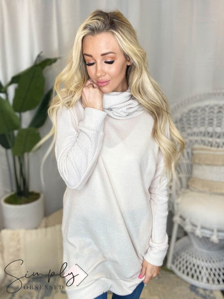 White Birch - Long sleeve solid knit sweater dress