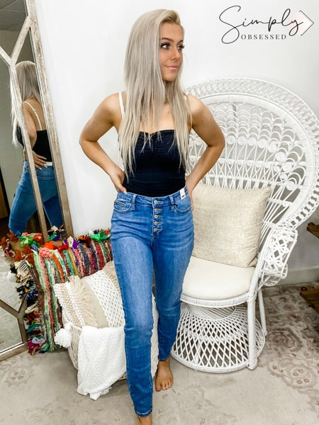 Judy Blue- Button fly skinny jeans