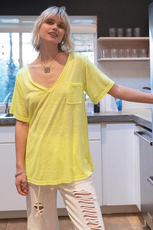 POL - V Neck Short Sleeve Knit Top W/ Front Pocket