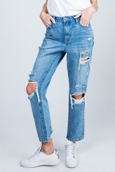 Special A - Distressed high rise relaxed straight jeans