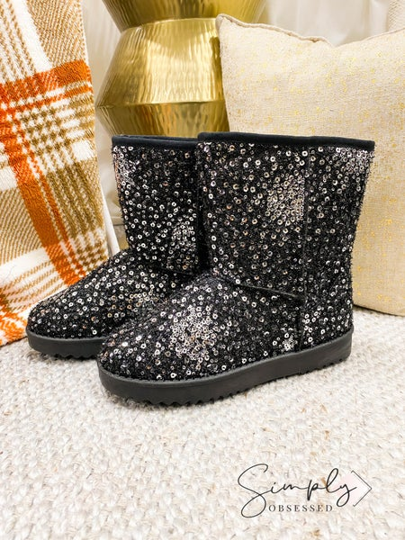Forever Link - Sequined low heel snow boots