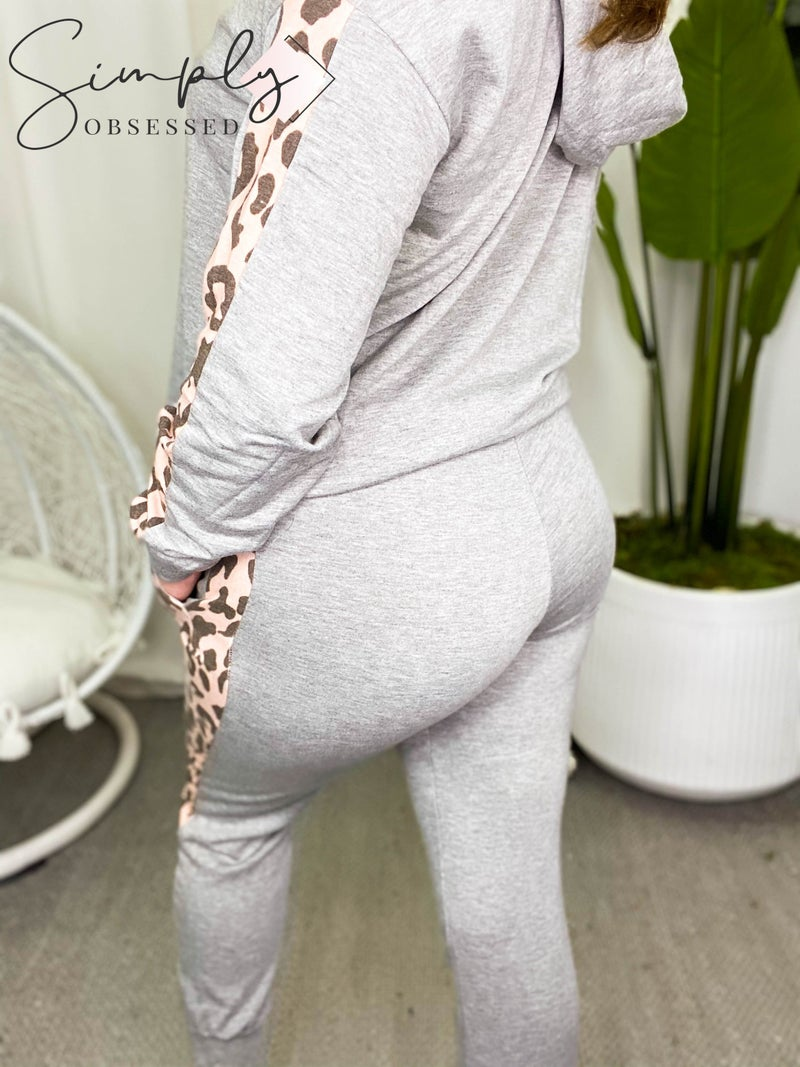 White Birch - Solid lounge wear pants with leopard print contrast bands (all sizes)