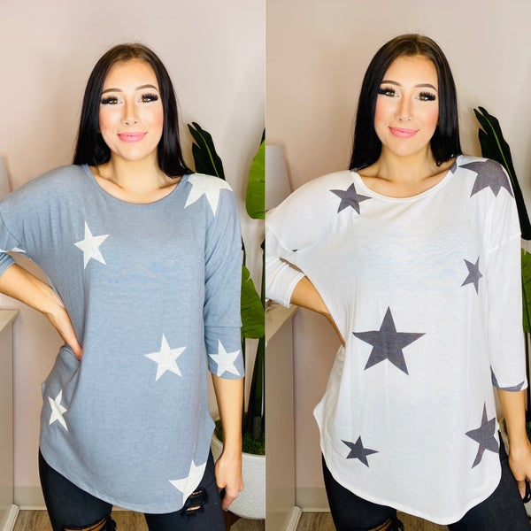 First Love - Star print top with a round neckline and dropped shoulders
