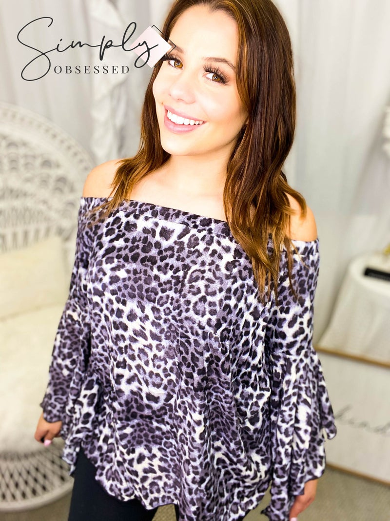 Rae Mode - Off shoulder animal print top with trumpet sleeves