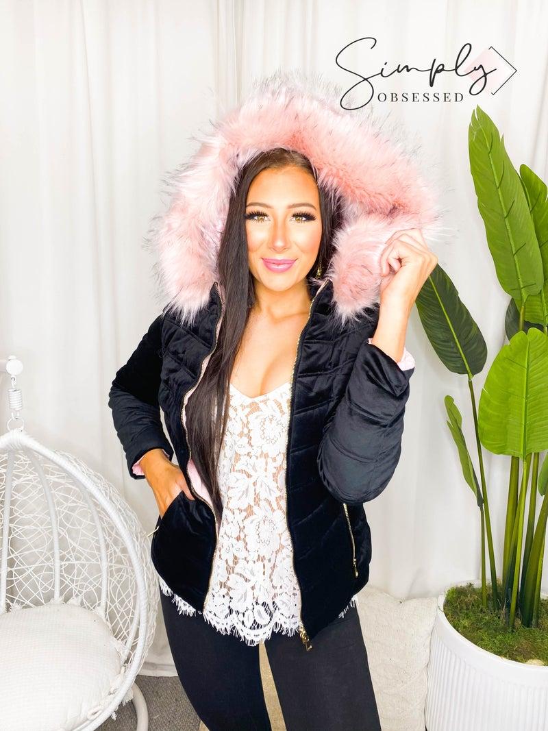 Coalition- Short hooded faux fur-lined velvet quilted jacket