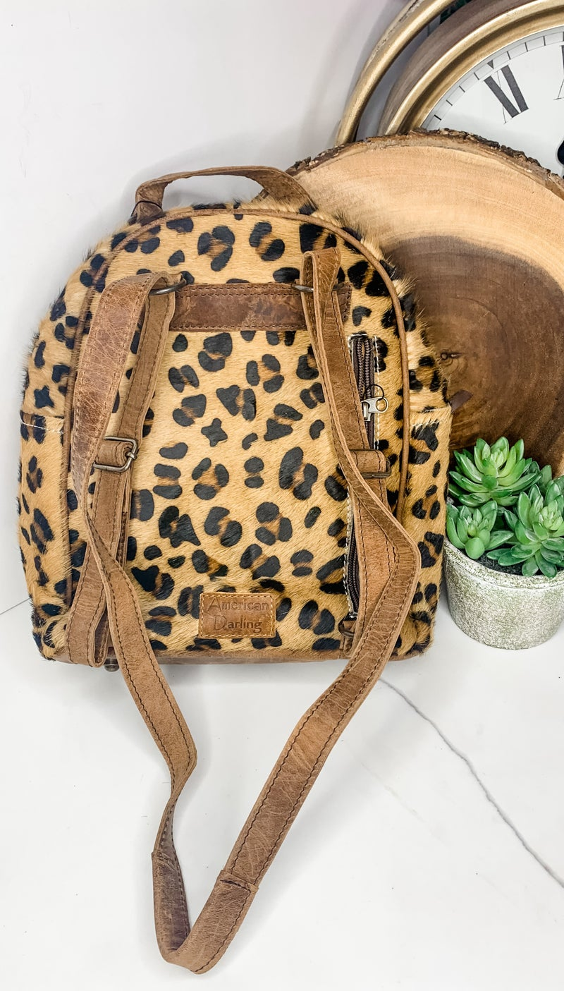American Darling - Cheetah print leather work back pack