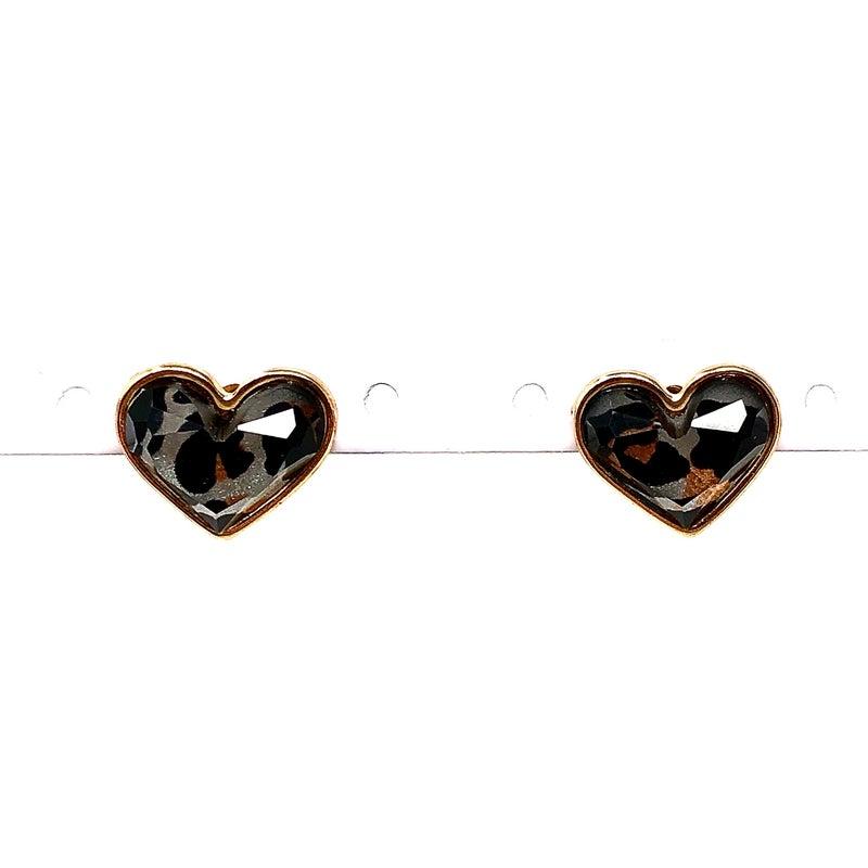 Leopard Print Heart Stud