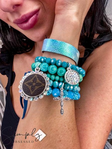 UpCycled - Blue/Green Bracelet Set w/Cross Charm