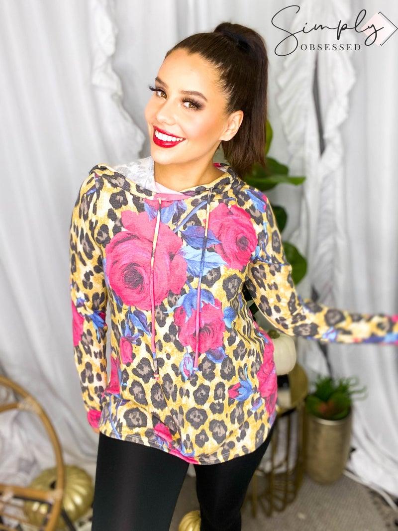 Sew In Love - Long Sleeve Floral & Leopard Hoodie Top