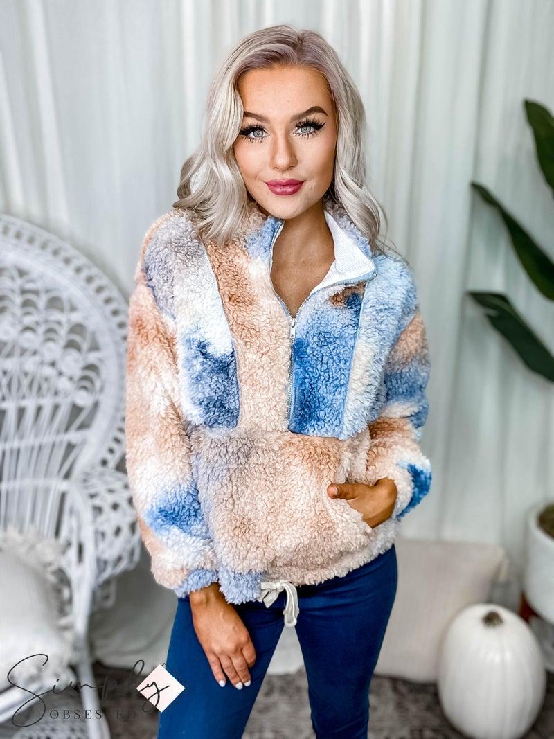 Peach Love California - Half zip up cropped tie dye  sherpa pullover sweater