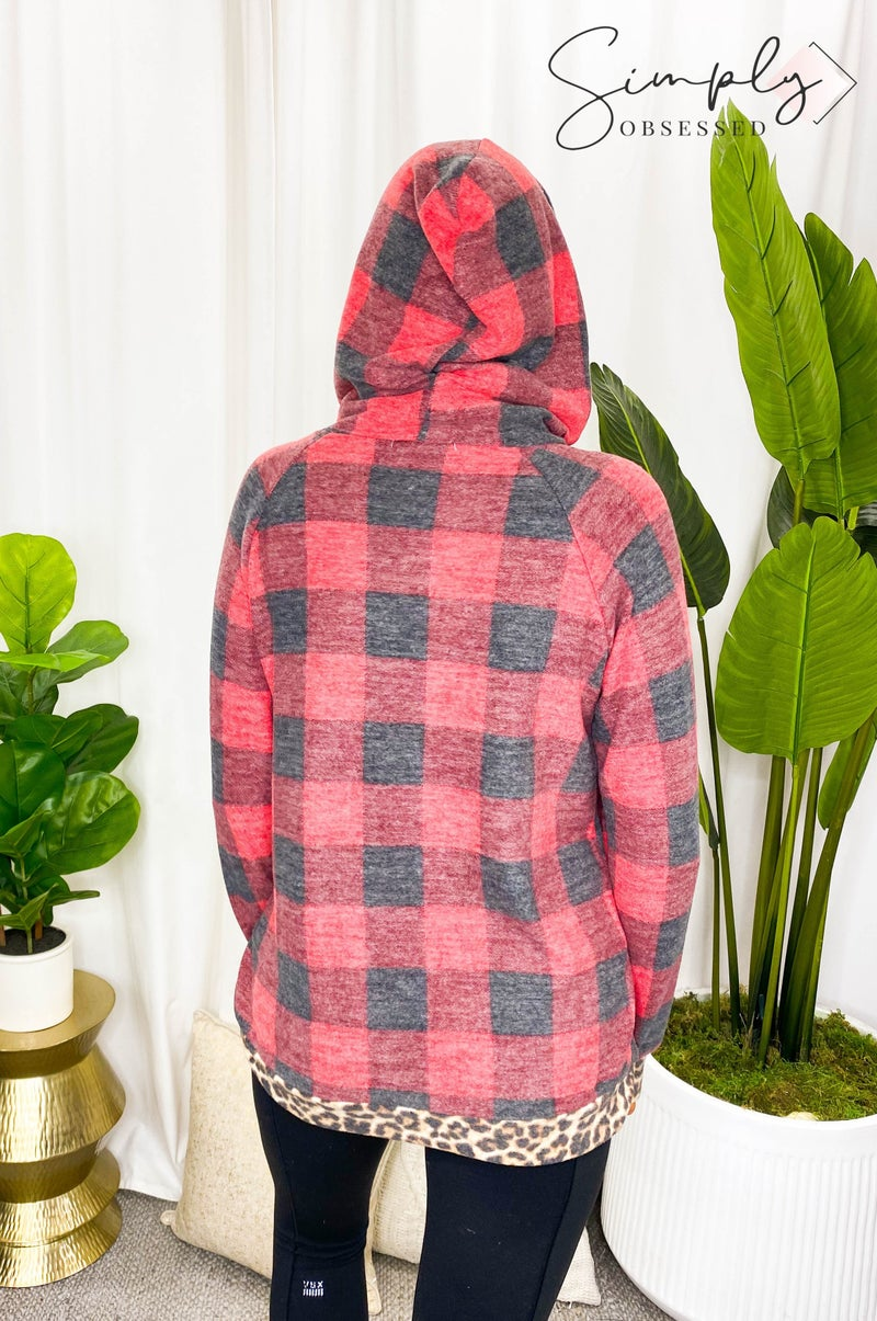 HAPTICS-PLAID AND LEOPARD RAGLAN ZIPPER HOODIE