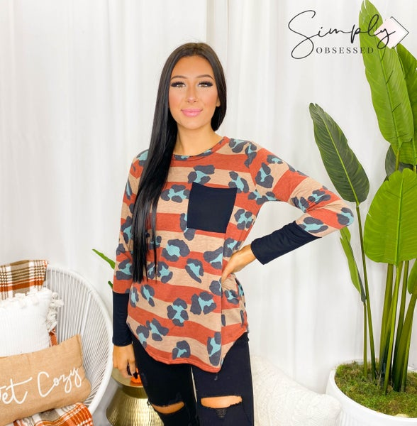 Flamingo - Long sleeve striped leopard print top with pocket and contrast sleeves (all sizes)