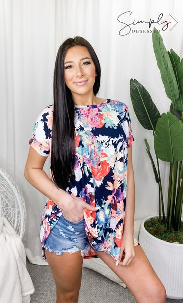 BEESON RIVER-Floral Cross Back Tunic Top