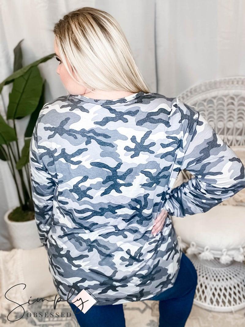 GeeGee - Camo print mock neck and v cutout neckline long sleeve top