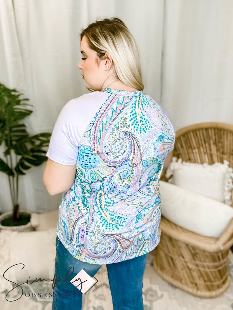 Sew In Love - Paisley Print Crew Neck T-Shirt with Color Blocked Sleeves