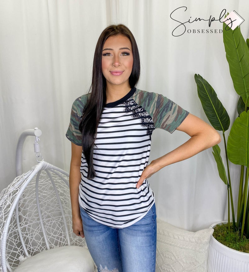 Vanilla Bay - Stripe knit top with lace trim detail