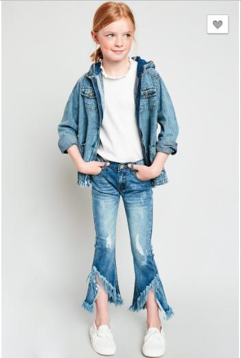 Hayden - Girls frayed distressed denim flare girls jeans