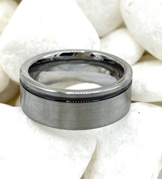 Men's Tungsten Silver Ring