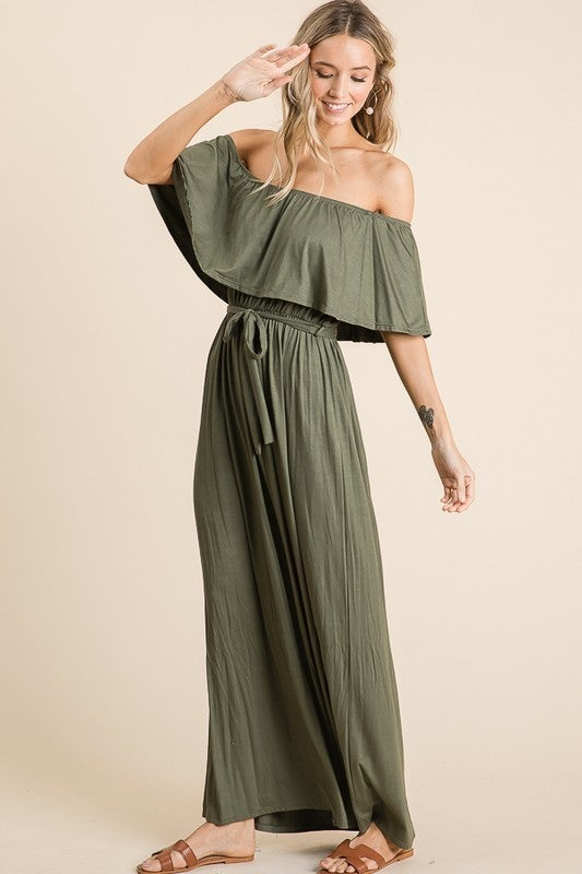 LOVELY MELODY-Off Shoulder Maxi Dress