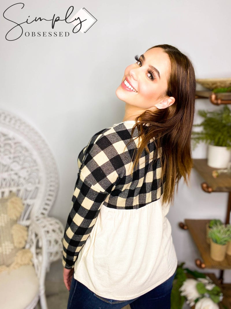Hailey & Co - Long sleeve plaid contrast baby doll top