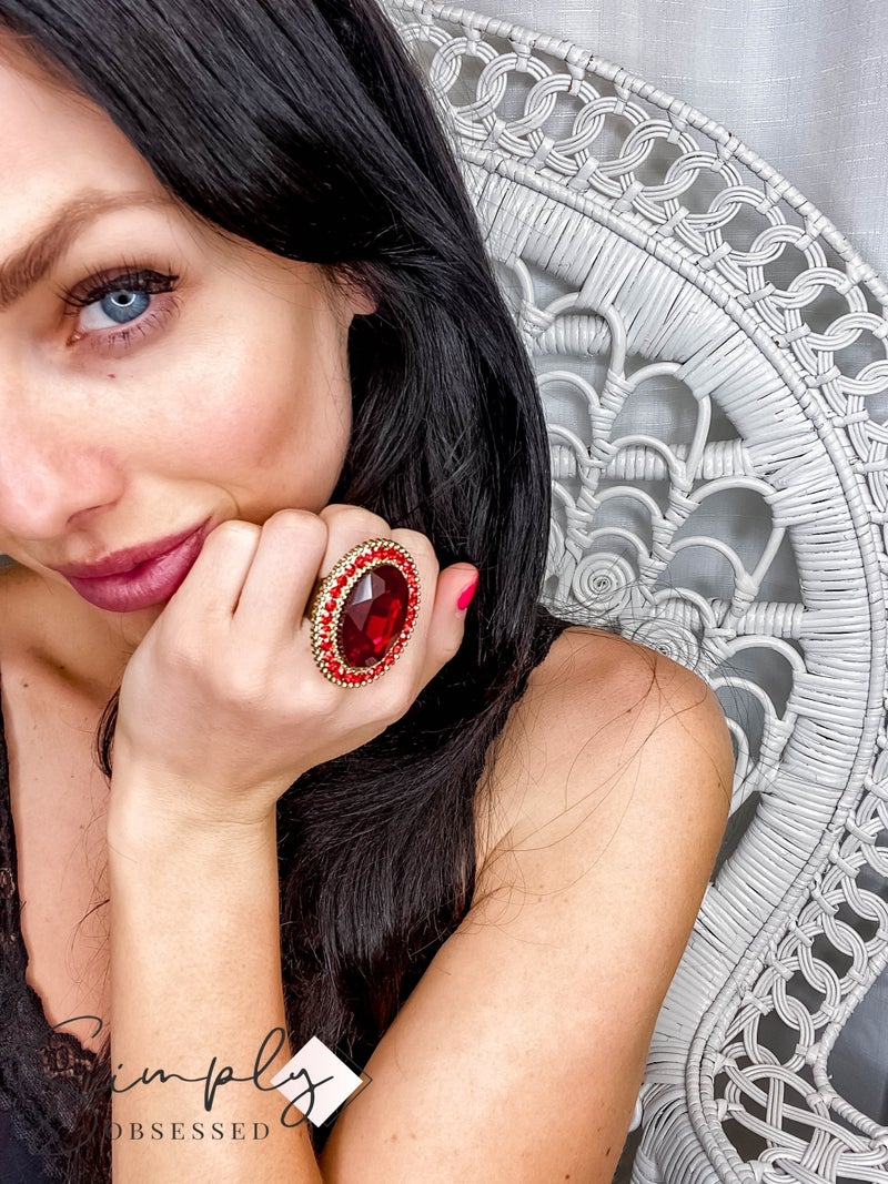 Up Cycled - Red Bling Oval Rings