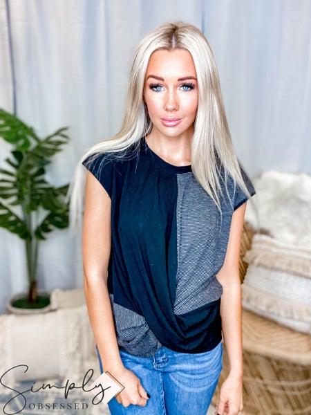 Blue B - Solid & Stripe Short Sleeve Top