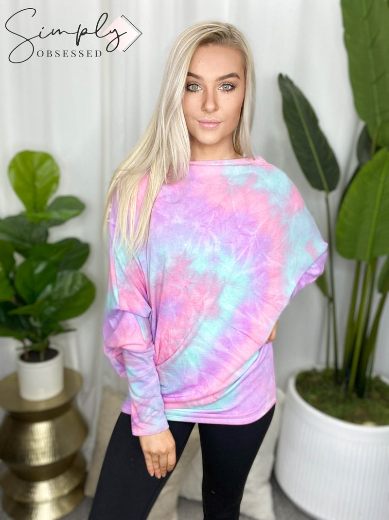 Heimish - Long sleeve tie dye off shoulder top