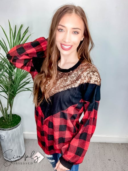 Vanilla Bay-Long sleeve mix match chevron shaped sequin, plaid and solid long sleeve top