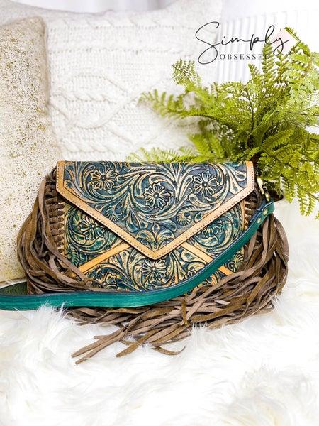 Tassel detail leather work cross body handbag