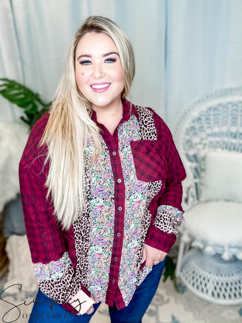 Oddi - Plaid oversized top with floral and animal print detailing(All Sizes)