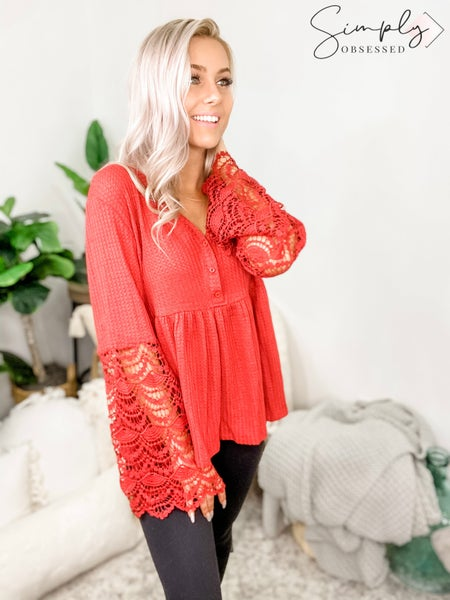 Main Strip - V neck button down long contrast lace bell sleeve knit top