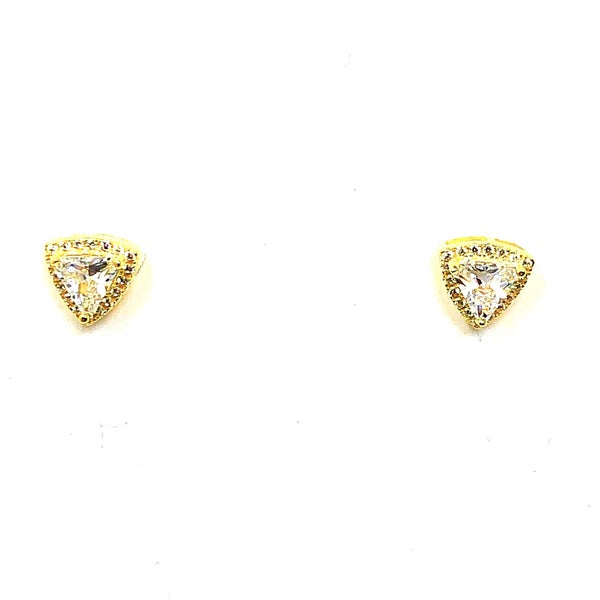 CZ Triangle Post Gold Plated Earrings