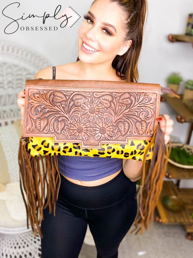 American Darling - Leather Work Handcrafted Cheetah Print Handbag
