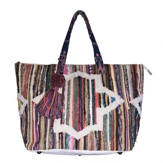 Chloe & Lex - Rainbow Stripes Tapestry Tote
