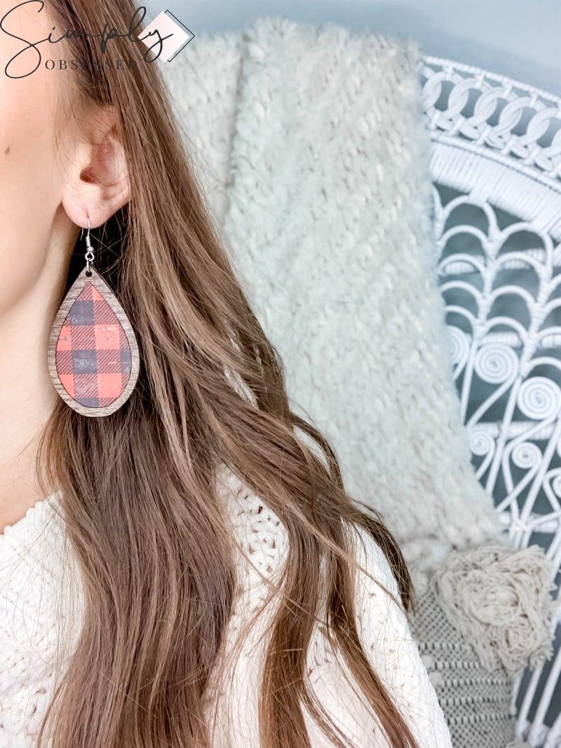 JJ - Wooden Teardrop Buffalo Plaid Earrings