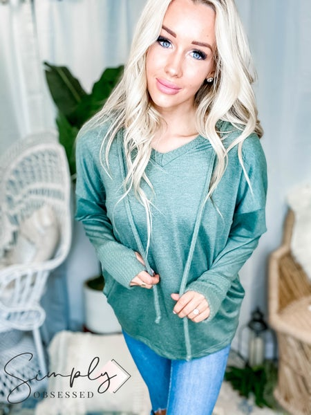 White Birch - V Neck Long Sleeve Top with Knitted Hood