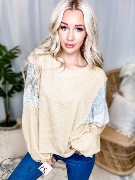 Fantastic Fawn - Long sleeve waffle knit floral print top