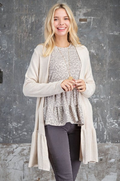 143 Story - Cashmere Feel Tiered Hem Open Cardigan