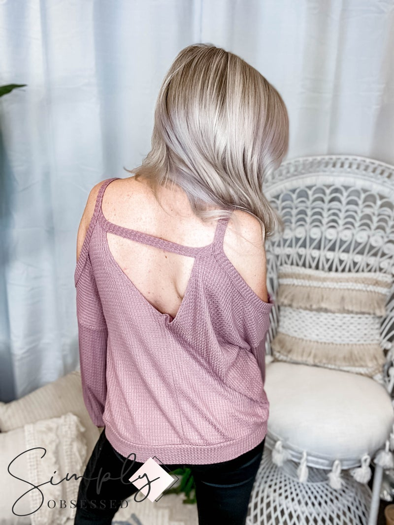 Peach Love California - Solid Cold Shoulder Long Sleeve Knit Top