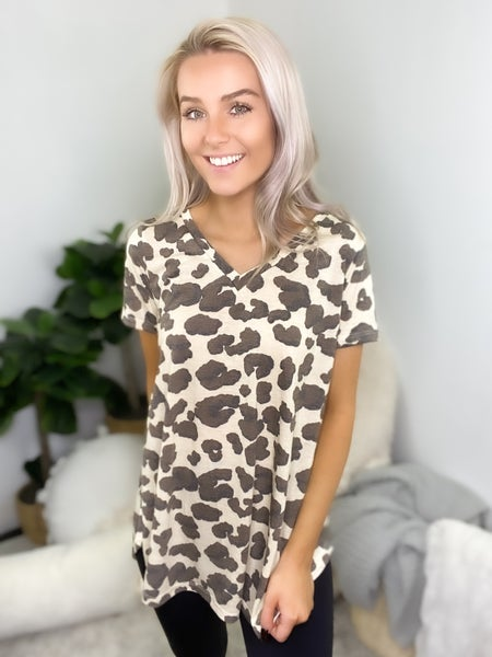 Sew In Love - Short sleeve animal print v-neck