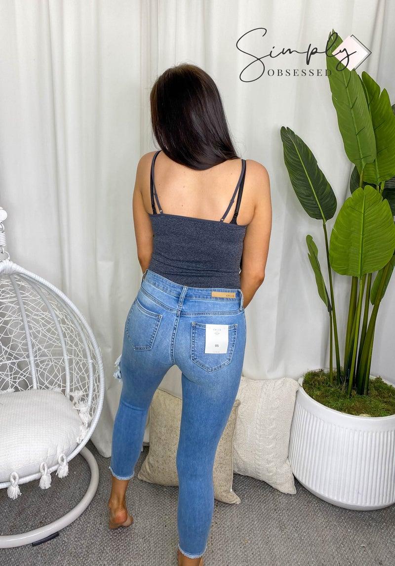 Cello - Distress crop skinny w fray hem jeans