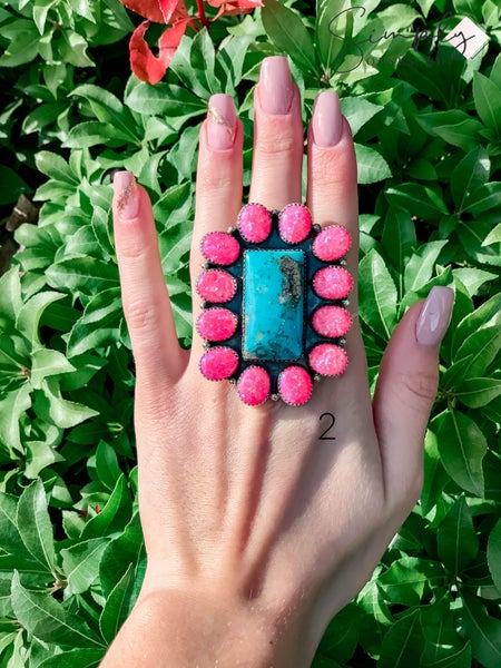 M & S - Turq. w/ Hot Pink Opal Adjustable Ring