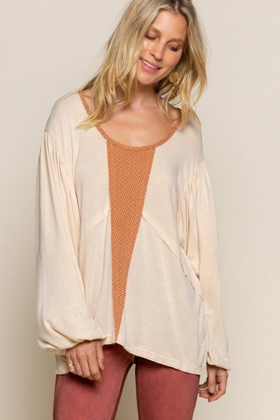 Pol - Deep round neck long sleeve top