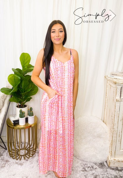 Peach Love California - Back tie flow tie dye maxi dress