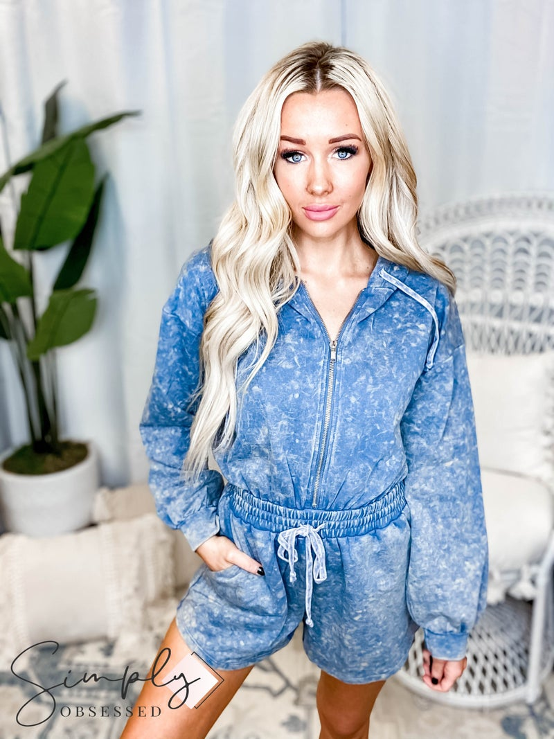 Oddi - Hoodie zip up solid washed terry romper(All Sizes)