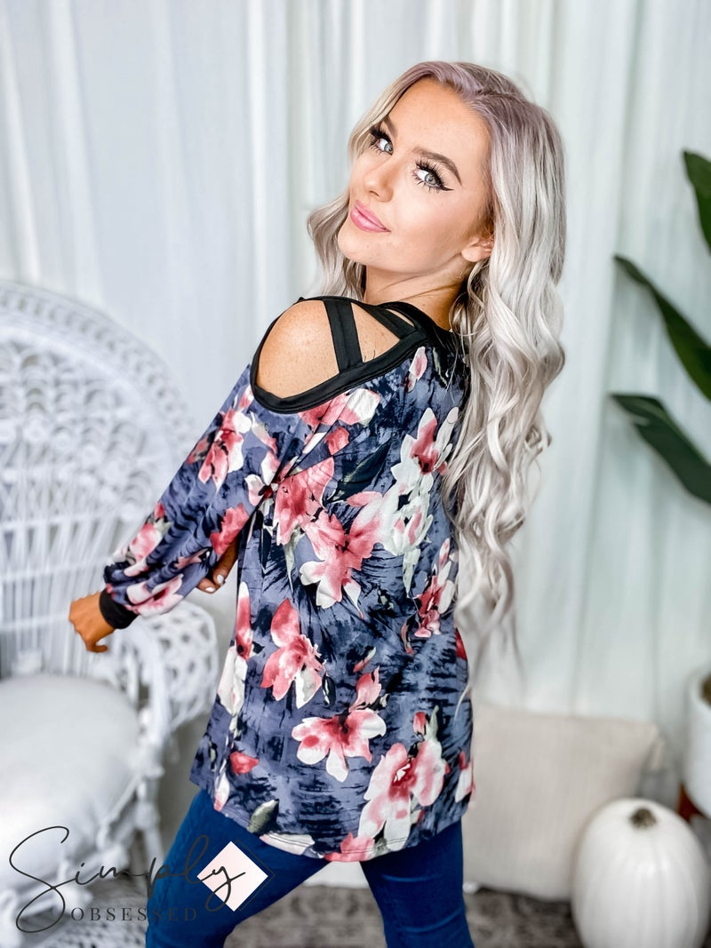 White Birch - Long sleeve floral print knit top(All Sizes)