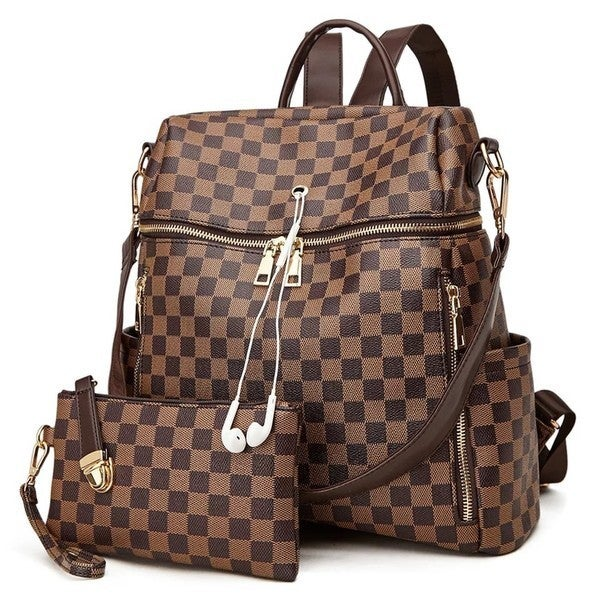 Dani & Em - Two piece checker convertible back pack