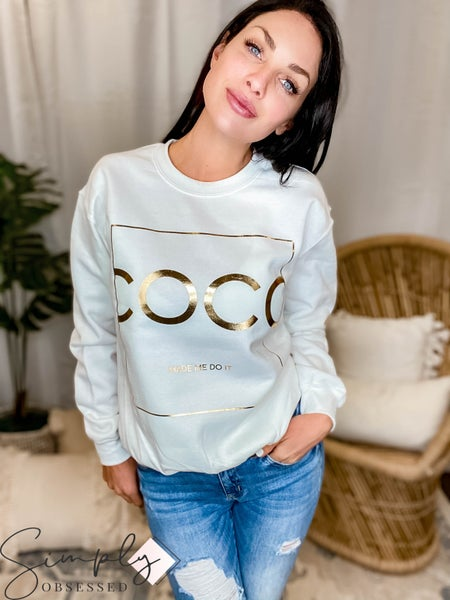 Wknder - Coco Made Me Do It Gold Foil Graphic Sweatshirt